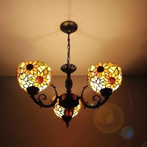 ステンドグラスランプ シャンデリア ティファニーライト ひまわり柄 3灯
