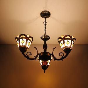ステンドグラスランプ シャンデリア ティファニーライト A 3灯