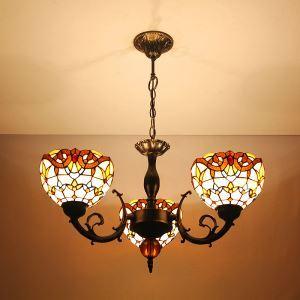 ステンドグラスランプ シャンデリア ティファニーライト B 3灯