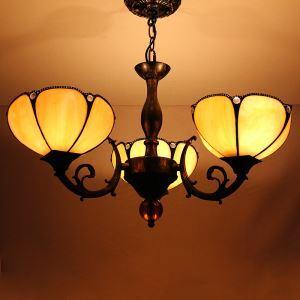 ステンドグラスランプ シャンデリア ティファニーライト D 3灯