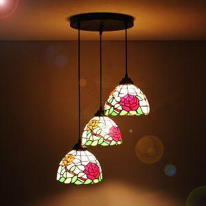 ペンダントライト ティファニーライト ステンドグラス照明器具 天井照明 花型 3灯 1028-ST08013A