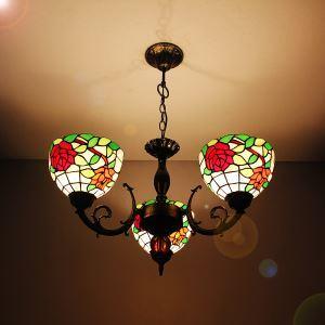 シャンデリア ステンドグラスランプ ティファニーライト リビング照明 ダイニング照明 ローズA 3灯