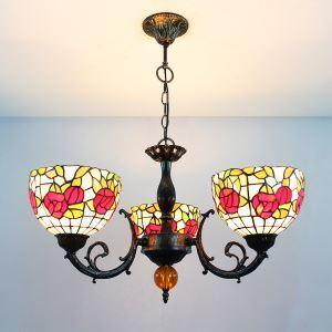 ステンドグラスランプ シャンデリア ティファニーライト ローズB 3灯