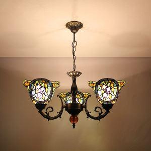 ステンドグラスランプ シャンデリア ティファニーライト 花柄D 3灯