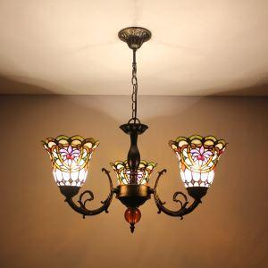 シャンデリア ステンドグラスランプ ティファニーライト リビング照明 ダイニング照明 花柄F 3灯