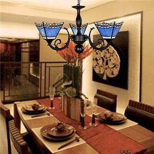 ステンドグラス照明器具 シャンデリア ティファニーライト 青色 3灯