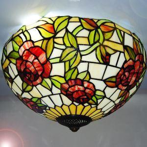 ステンドグラス シーリングライト ティファニーライト 天井照明 ローズ柄 3灯