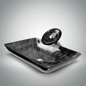 洗面ボウル&蛇口セット 手洗い鉢 洗面器 手洗器 洗面ボール 洗面台 ガラス 排水金具付 オシャレ おしゃれ SFS001