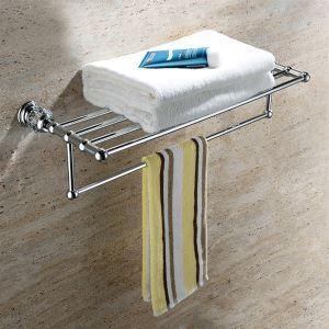 浴室タオルラック タオル掛け タオル収納 ハンガー バス用品 真鍮製&クリスタル クロム