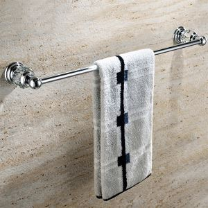 浴室タオルバー タオル掛け タオル収納 ハンガー バス用品 真鍮製&クリスタル クロム