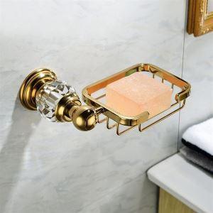 浴室ソープディッシュホルダー 石鹸ホルダー 真鍮&スリカップ 金色 Ti-PVD