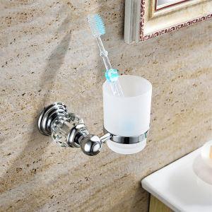 歯ブラシホルダー 歯ブラシスタンド カップ付き 収納 真鍮&クリスタル クロム