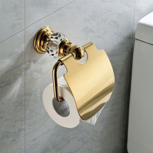 トイレットペーパーホルダー バスアクセサリー 真鍮&クリスタル 金色 Ti-PVD