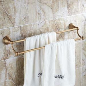 浴室二重タオルバー タオル掛け タオル掛け タオル収納 壁掛けハンガー バスアクセサリー ブラス色