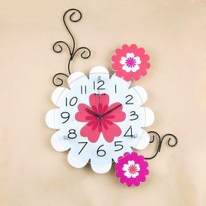 時計 壁掛け時計 静音時計 花型 子供屋 田舎風