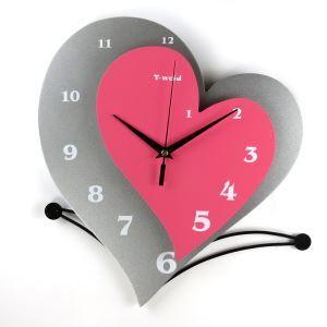 時計 壁掛け時計 静音時計 ハート型 個性的