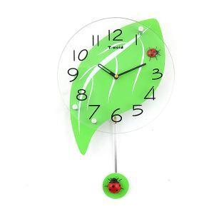 時計 壁掛け時計 振り子時計 静音時計 葉型 ミドリ 子供屋 田舎風