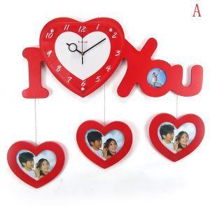 壁掛け時計 フォトフレーム付写真4枚収納と時計が一体♪ 木製時計 静音時計 I Love you