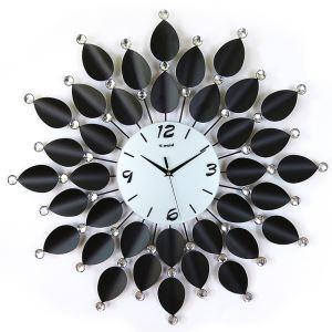 時計 壁掛け時計 静音時計 葉型 ブラック 創意