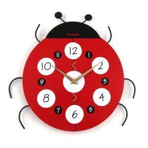 時計 壁掛け時計 静音時計 アニマル時計 ナナホシテントウムシ 子供屋