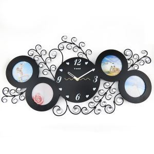 【壁掛け時計】フォトフレーム付写真4枚収納と時計が一体♪ 時計 静音時計