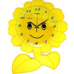 時計 壁掛け時計 静音時計 ひまわり型 漫画 かわいい 子供屋