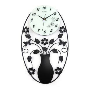 時計 壁掛け時計 静音時計 花瓶&花 創意 個性的