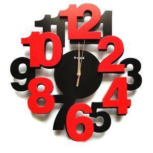 時計 壁掛け時計 静音時計 木製数字 カラフル 個性的