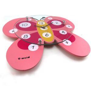 時計 壁掛け時計 静音時計 アニマル時計 蝶 ピンク 子供屋
