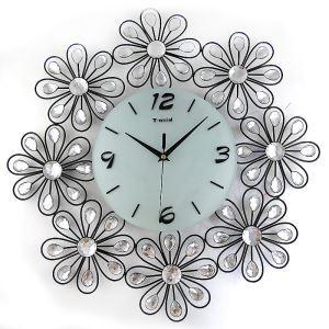 時計 壁掛け時計 静音時計 花型 シンプルデザイン