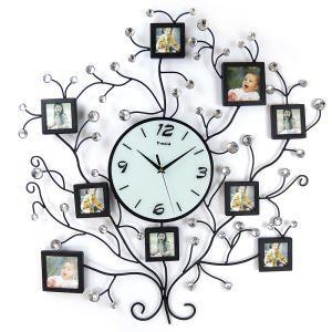 【壁掛け時計】フォトフレーム付写真9枚収納と時計が一体♪ 時計 静音時計 木