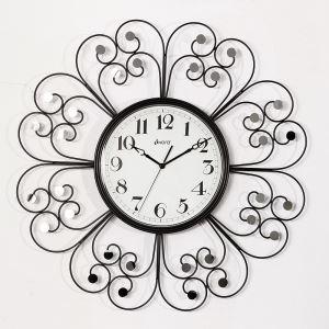 時計 壁掛け時計 静音時計 花型 ブラック 創意