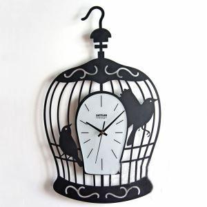 時計 壁掛け時計 静音時計 アニマル時計 トリ カゴ