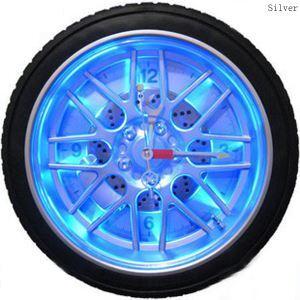 時計 壁掛け時計 静音時計 LED タイヤ型 樹脂 創意