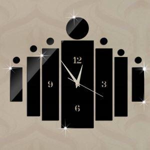 時計 壁掛け時計 静音時計 DIY時計 人 ブラック 創意