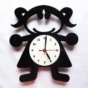 時計 壁掛け時計 静音時計 漫画少女 個性的