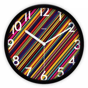 時計 壁掛け時計 静音時計 抽象 カラフル 縞
