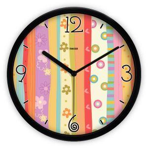 時計 壁掛け時計 静音時計 抽象 花柄 カラフル