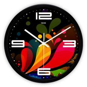 時計 壁掛け時計 静音時計 抽象 縞 カラフル