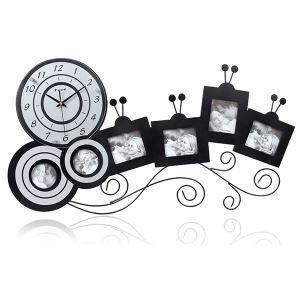 【壁掛け時計】フォトフレーム付写真6枚収納と時計が一体♪ 時計 静音時計