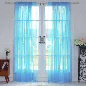 シアーカーテン UVカット ブルー 無地柄 レースカーテン(1枚)