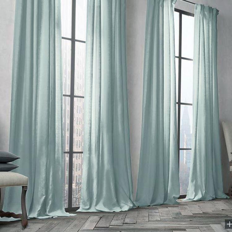 遮光カーテン 北欧カーテン オーダーカーテン ライトターコイズ 無地柄 麻&綿 3級遮光カーテン 1枚 Gt028