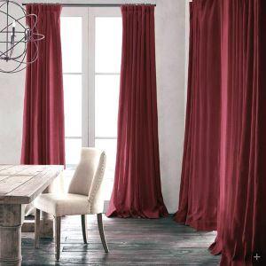遮光カーテン 北欧カーテン オーダーカーテン ワインレッド 無地柄 麻&綿 3級遮光カーテン(1枚) GT030