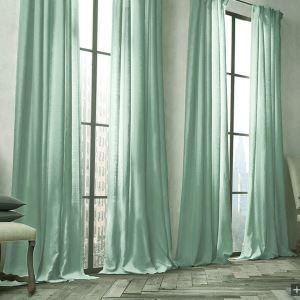 遮光カーテン 北欧カーテン オーダーカーテン ターコイズ 無地柄 麻&綿 3級遮光カーテン(1枚) GT034