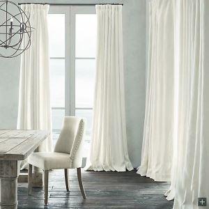 遮光カーテン オーダーカーテン 白色 無地柄 麻&綿 3級遮光カーテン(1枚)