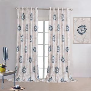 遮光カーテン オーダーカーテン 北欧カーテン フラワープリント 麻&綿 3級遮光カーテン(1枚) GT070