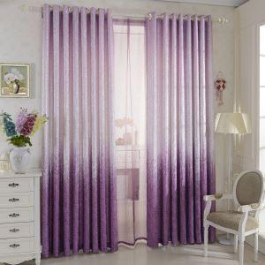 遮光カーテン オーダーカーテン 北欧カーテン ジャガード 紫色 無地柄 麻&綿 3級遮光カーテン(1枚) GT094