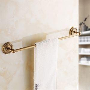 浴室タオルバー タオル掛け タオル収納 壁掛けハンガー バスアクセサリー アンティーク調 ブラス色
