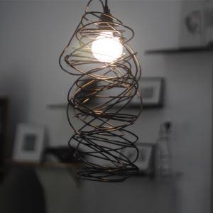 ペンダントライト 天井照明 北欧風照明 螺旋型 黒 1灯
