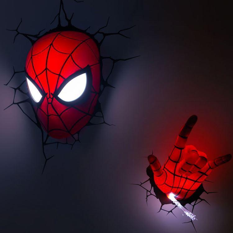 3d壁掛けライト 3dデコライト ウォールランプ 壁掛け照明 スパイダーマンフェイス型